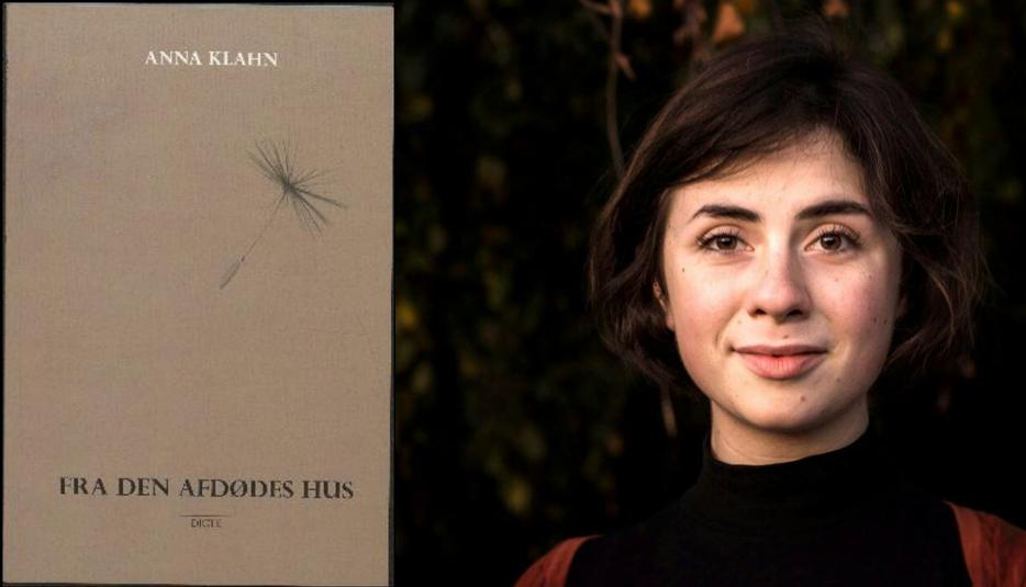 Billede af forfatteren Anna Klahn og bogen 'fra den afdødes hus'