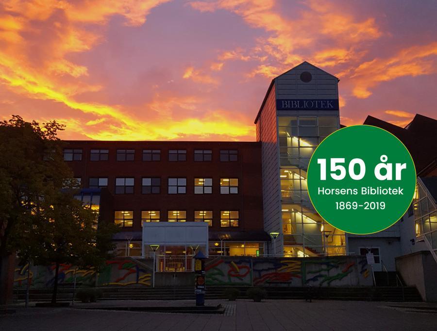 Billede med logo for jubilæet: Horsens Bibliotek 150 år