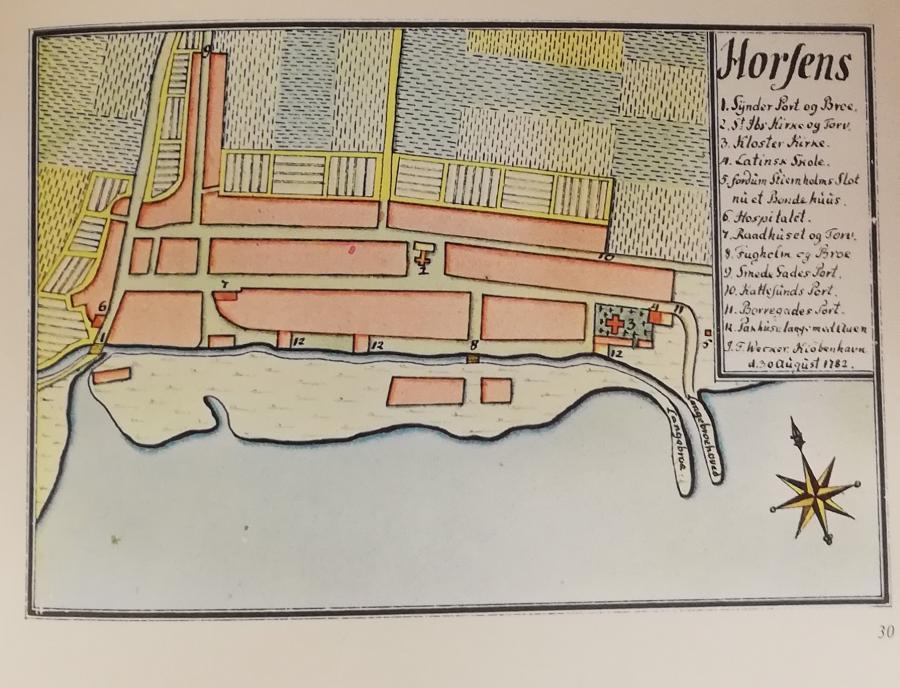 Kort over Horsens, taget fra Weckers bykort, en kortsamling fra 1700-tallet.