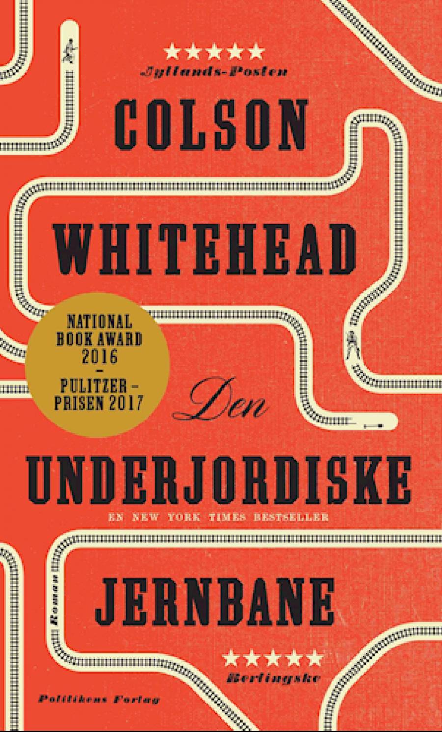 """Forside til bogen """"Den underjordiske jernbane"""" af Colson Whitehead"""