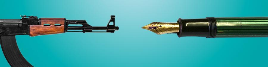 En Kalashnikov og en fyldepen