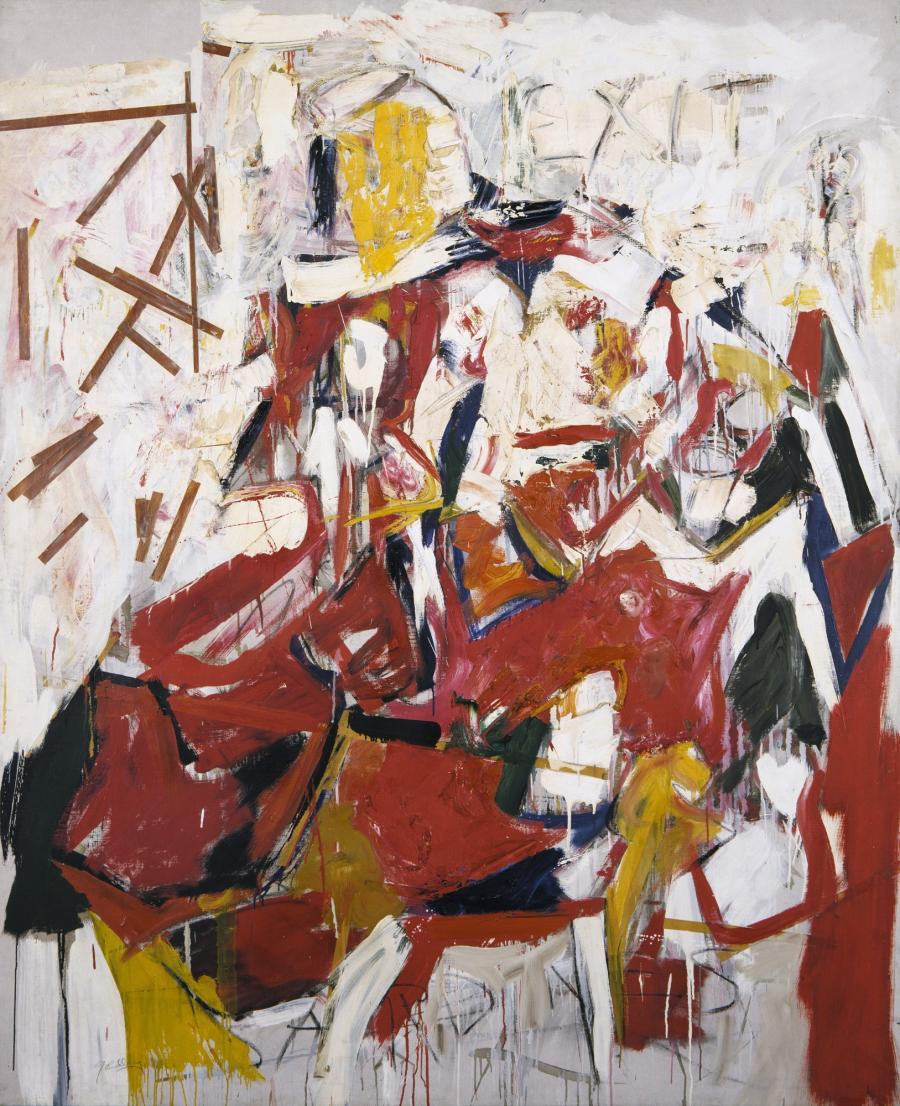 """Sardines af Mike Goldberg  1955: abstrakt maleri i røde, gule, sorte og brune farver på en snavset hvid baggrund. Ordet Sardines er malet delvist over i bunden af maleriet. Øverst står ordet """"Exit"""""""