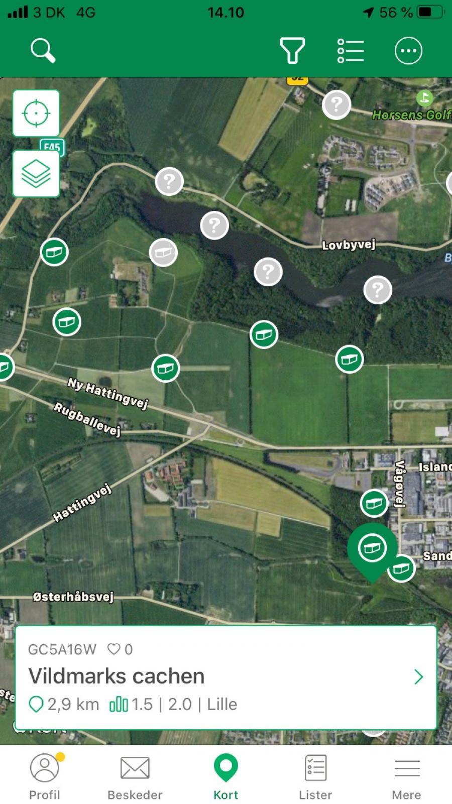 SKærmbillede fra geocashing-app